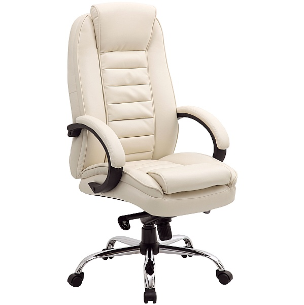 Lucca Cream Executive Leather Office Chairs