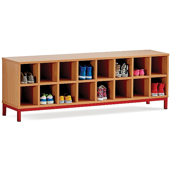 Cloakroom Storage Bench with 16 Open Compartments