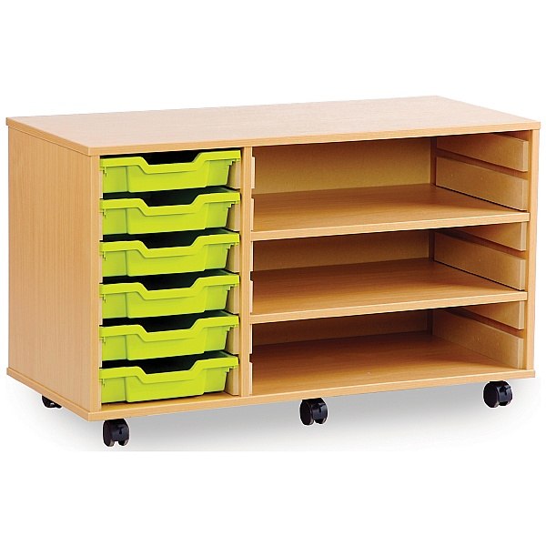 6 Tray Shallow Storage Unit With 2 Adjustable Shelves
