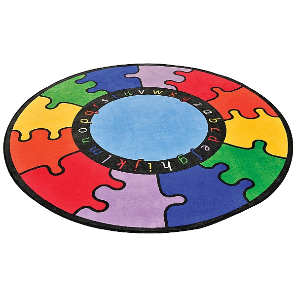 ABC Rainbow Puzzle Cut Pile Rugs