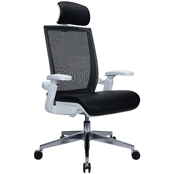 Traction Executive Leather Mesh Task Chair - Black