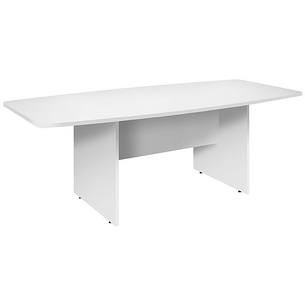 Commerce II White Barrel Shaped Boardroom Table