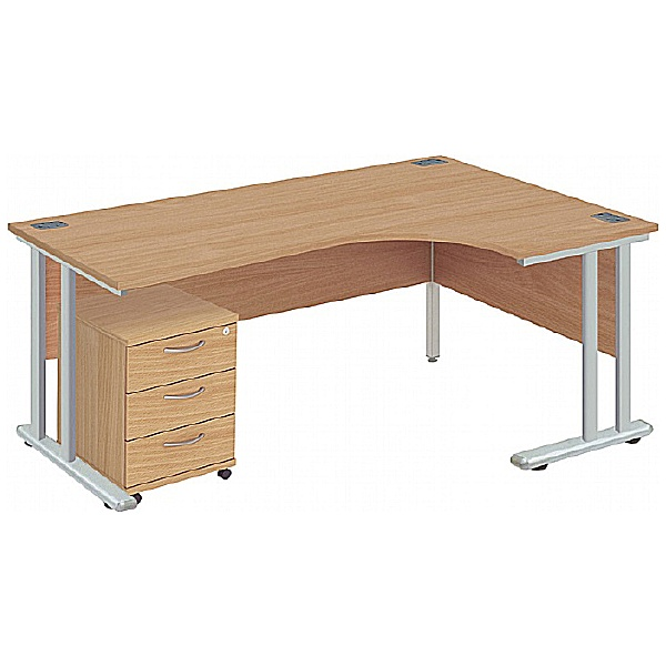 Commerce II Deluxe Ergonomic Office Desks With Mob