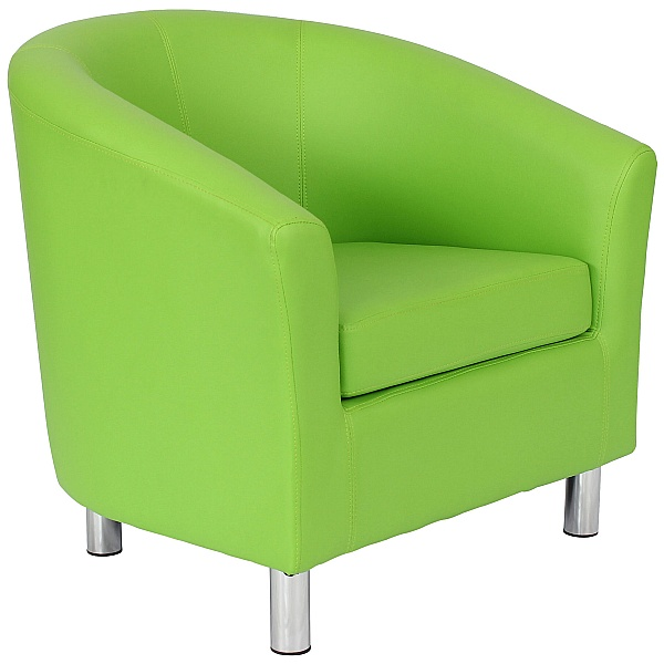 Collage Vinyl Tub Chairs With Metal Legs - Lime