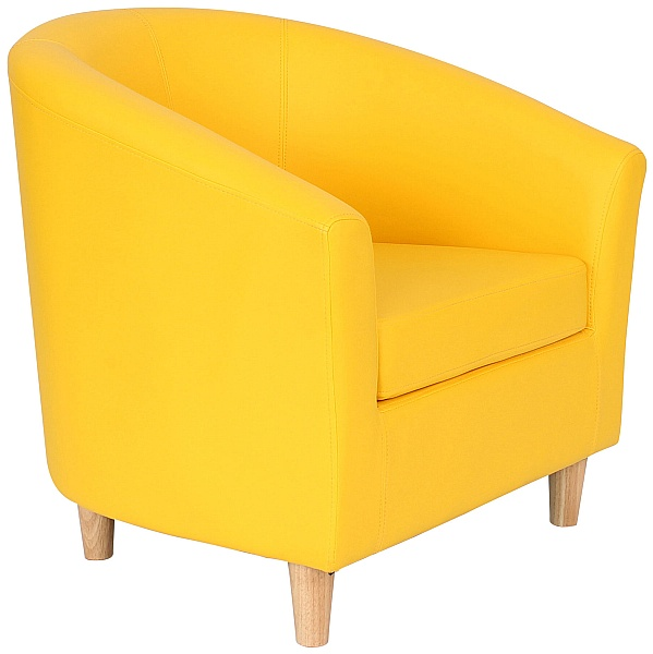 Collage Vinyl Tub Chairs With Wooden Legs - Yellow