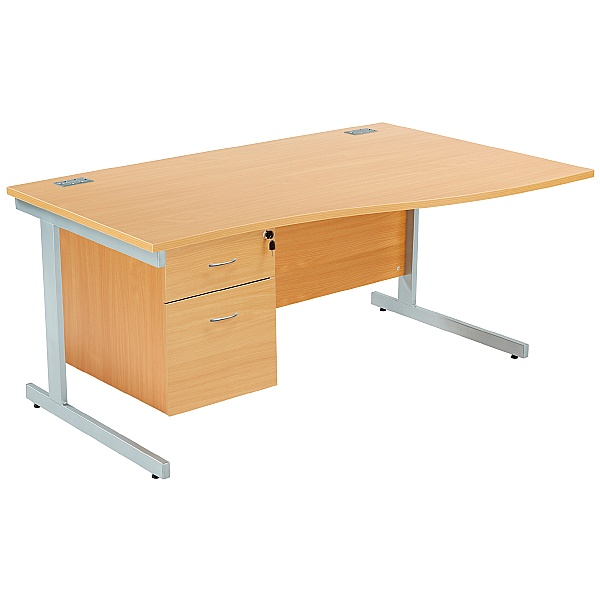 Commerce II Wave Desks With Fixed Pedestal