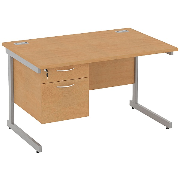 Rectangular Cantilever Desks With Single Fixed Ped