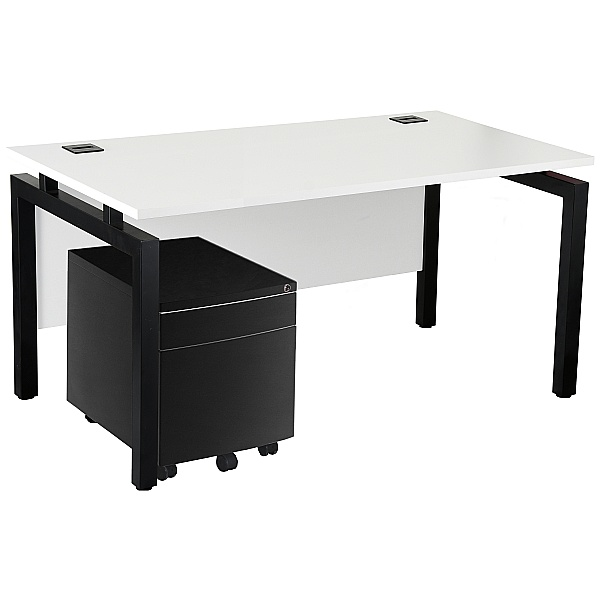 NEXT DAY Karbon K4 Rectangular Bench Desks With Low Mobile Metal Pedestal