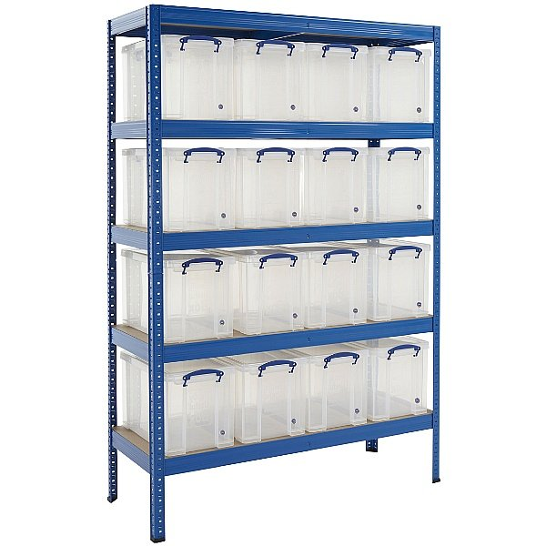 Industrial Shelving Bay With 16 x 24 Litre Really