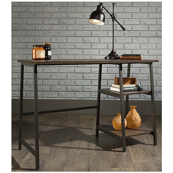 Foundry Industrial Style Laptop Desk- Smoked Oak
