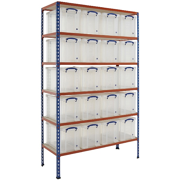 BiG340 Shelving Bay With 20 x 24 Litre Really Useful Boxes