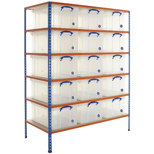 BiG340 Shelving Bay With 15 x 64 litre Really Usef