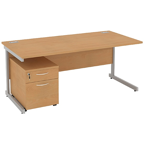 Solar Cantilever Rectangular Desks With Mobile Ped