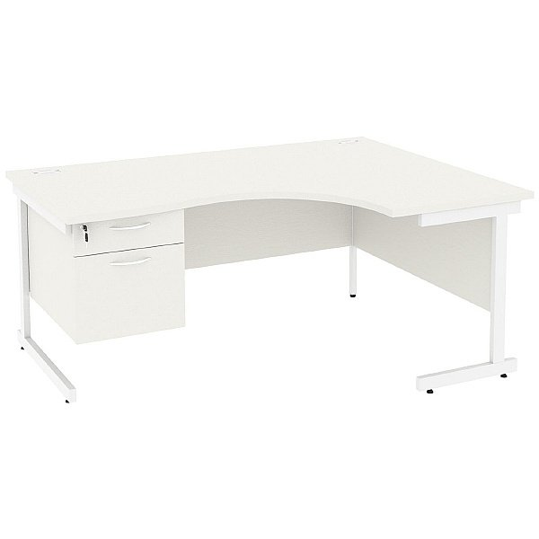 NEXT DAY Vogue White Ergonomic Cantilever Desks With Single Fixed Pedestal