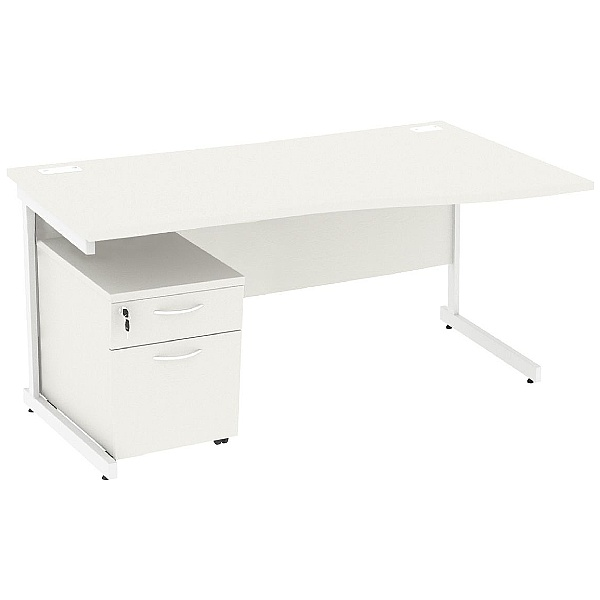 NEXT DAY Vogue White Wave Cantilever Desks With Mobile Pedestal