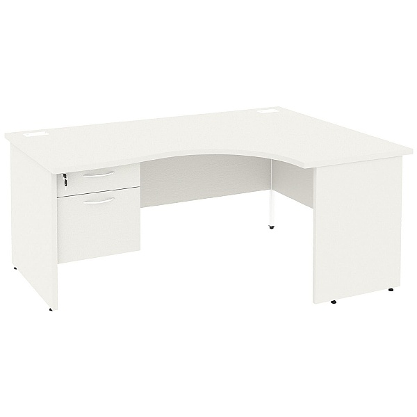 NEXT DAY Vogue White Ergonomic Panel End Desks With Single Fixed Pedestal