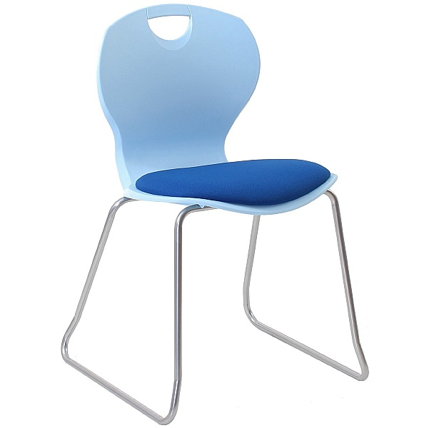 Evo Polypropylene Skid Base Classroom Chairs With Upholstered Seat