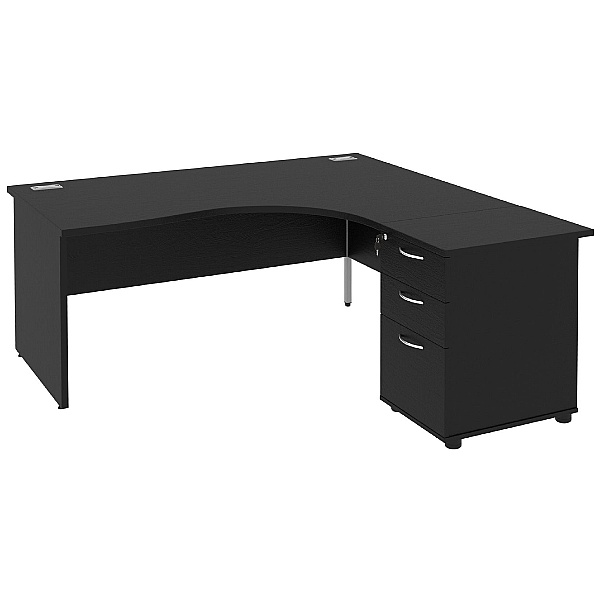 NEXT DAY Eclipse Black Ergonomic Panel End Desks With Desk High Pedestal