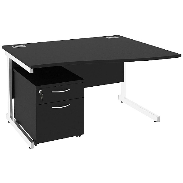NEXT DAY Eclipse Black Wave Cantilever Desks With Mobile Pedestal