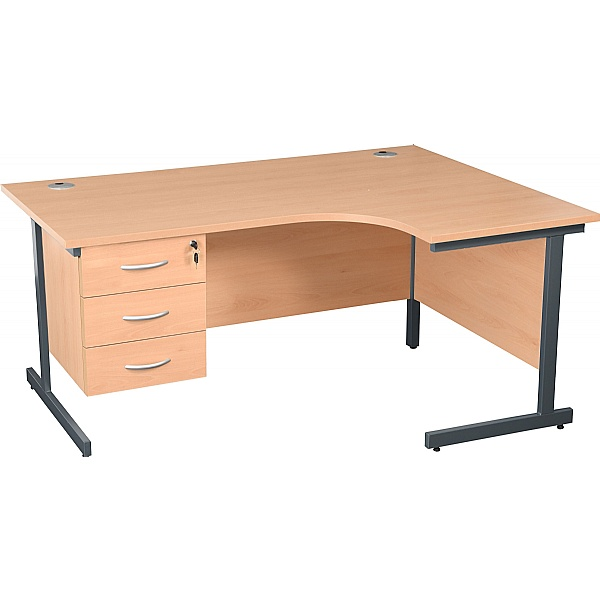NEXT DAY Karbon K1 Ergonomic Cantilever Office Desks With Fixed Pedestal