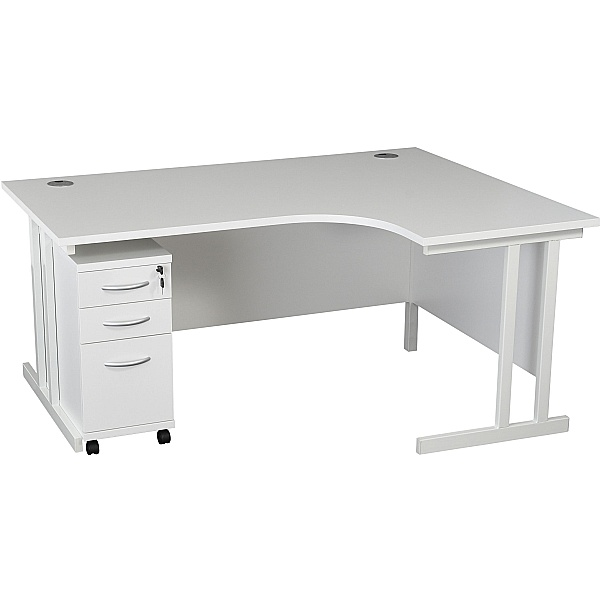 NEXT DAY Karbon K3 Ergonomic Deluxe Cantilever Desk With Narrow Mobile Pedestal
