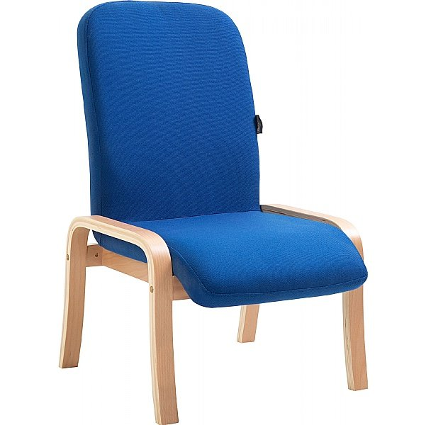 Oxford Wooden Frame Fabric Reception Chair Without Arms