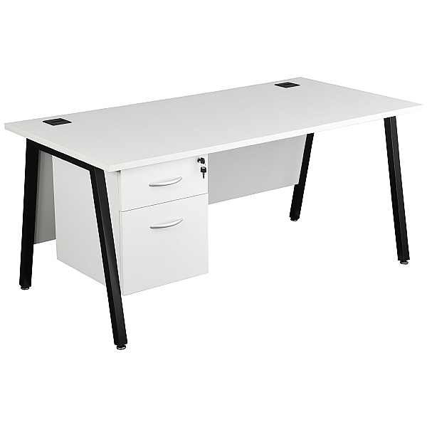 Karbon K6 A-Frame Rectangular Desks With Single Fixed Pedestal