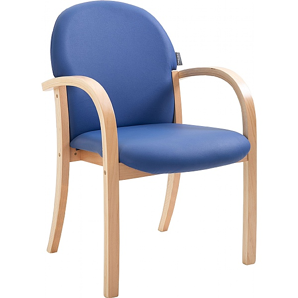 Lincoln Wooden Frame Vinyl Stacking Chair With Arms