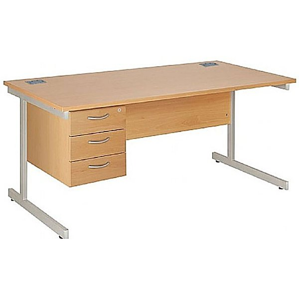 NEXT DAY Commerce II Rectangular Desks With Single Fixed Pedestal