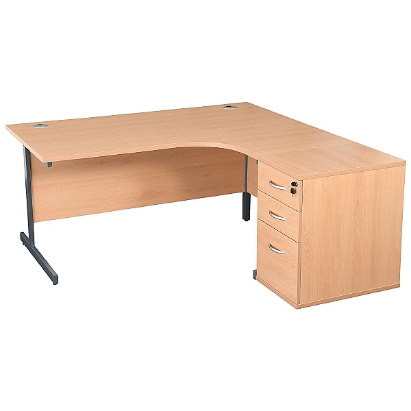 NEXT DAY Karbon K1 Ergonomic Cantilever Office Desks With 600D Desk End Pedestal