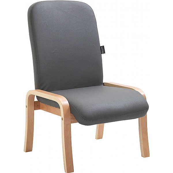 Oxford Wooden Frame Vinyl Reception Chair Without Arms