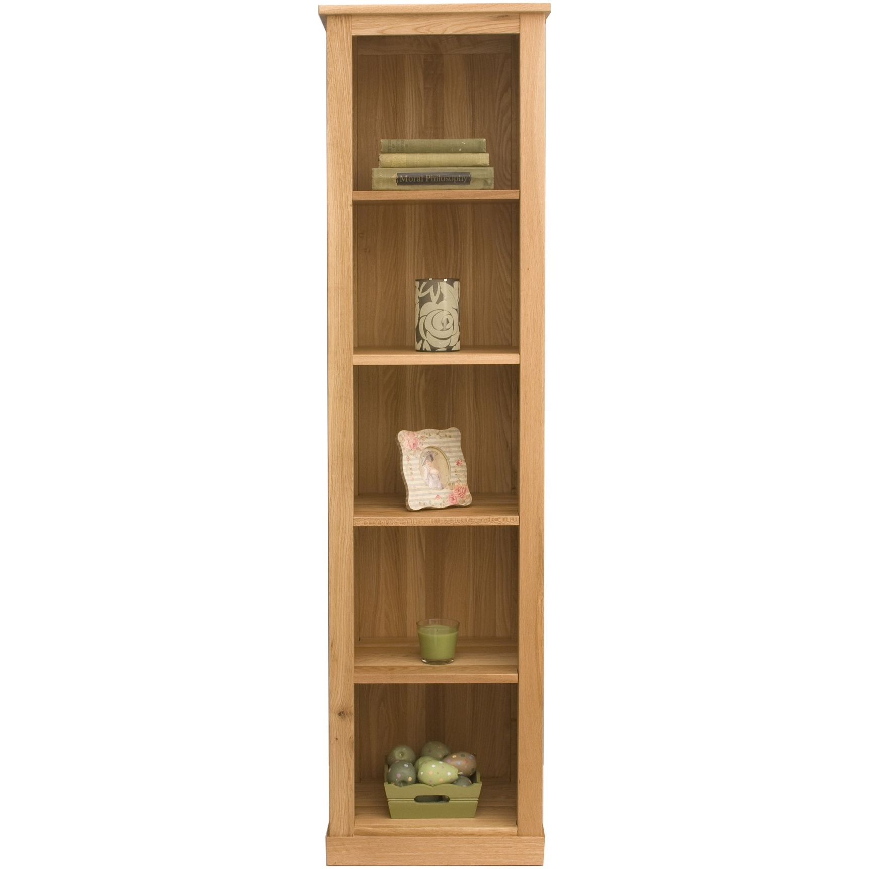 Cavalli Solid Oak Narrow Bookcase Wooden Office Bookcases