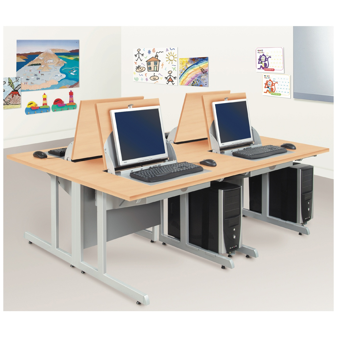 - SmartTop ICT Desks - Two Person Computer Desks School IT Chairs