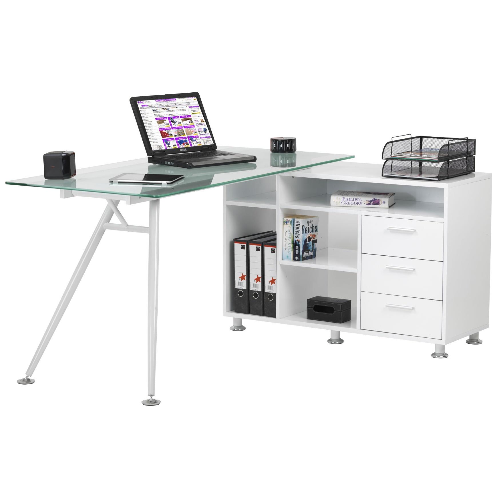 Image of: Daemon Glass Corner Workstation Computer Desks