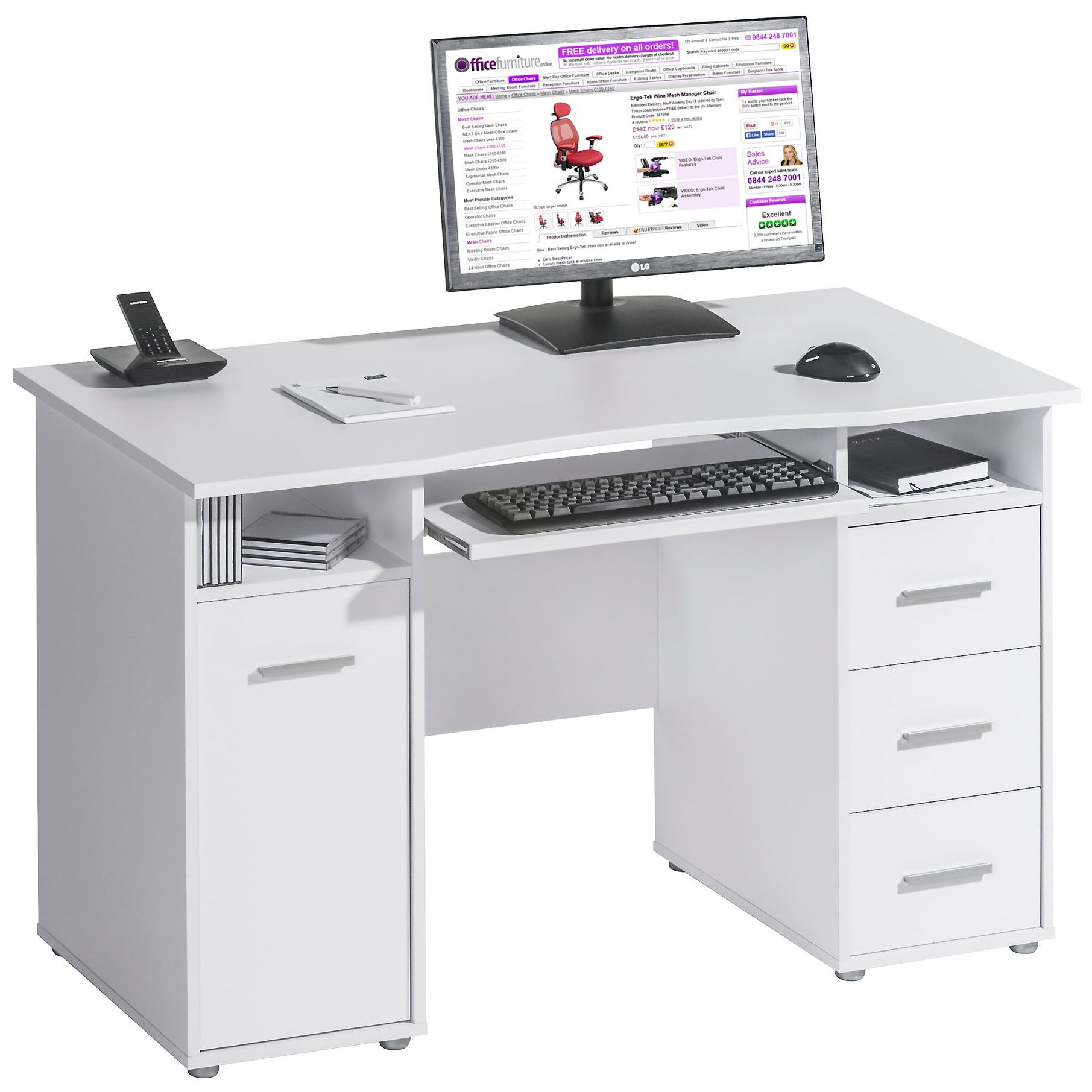 Hampstead Computer Desk White | Computer Desks
