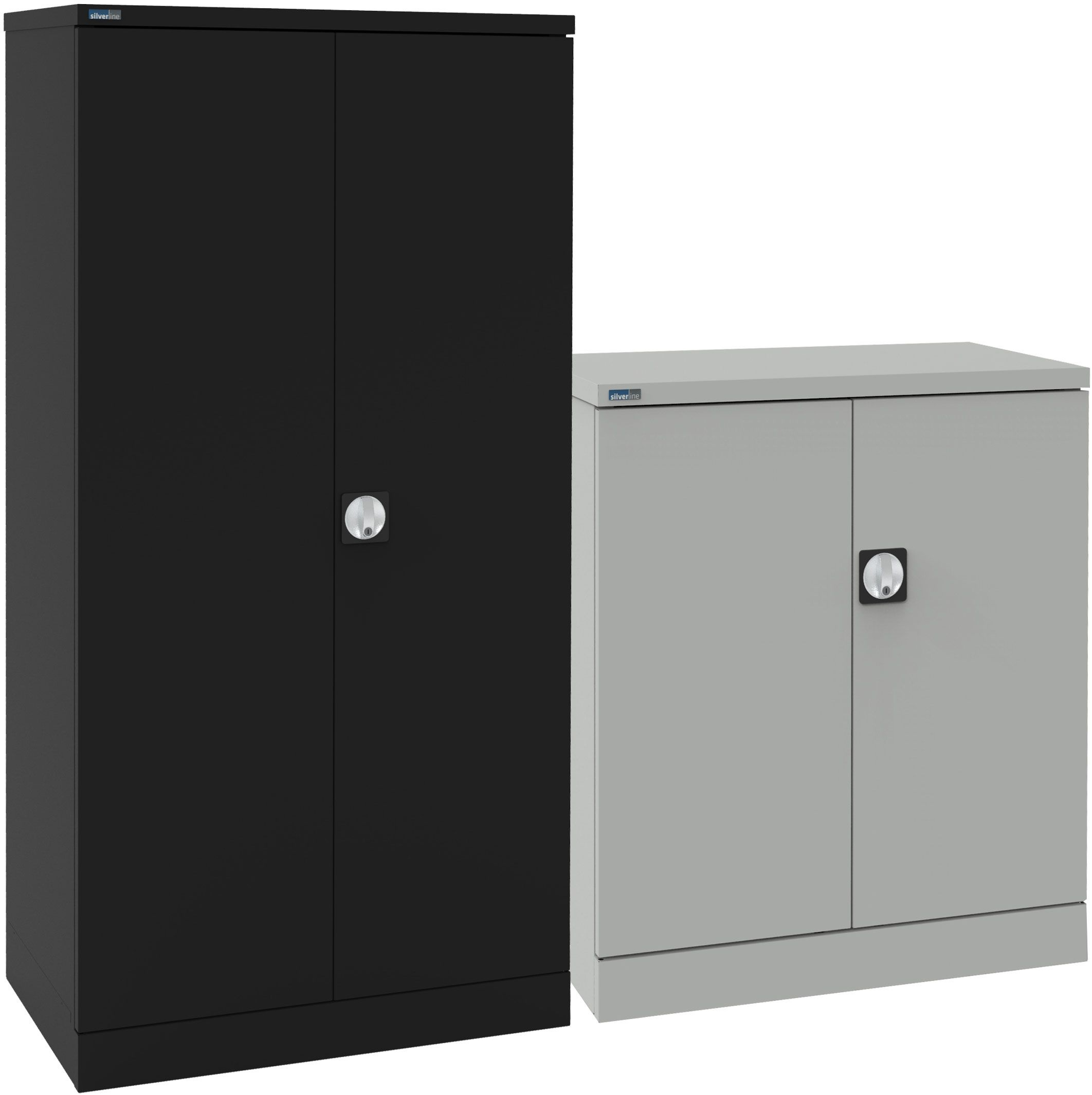SILVERLINE TAMBOUR CABINET CUPBOARD WITH ADJUSTABLE SHELVES,