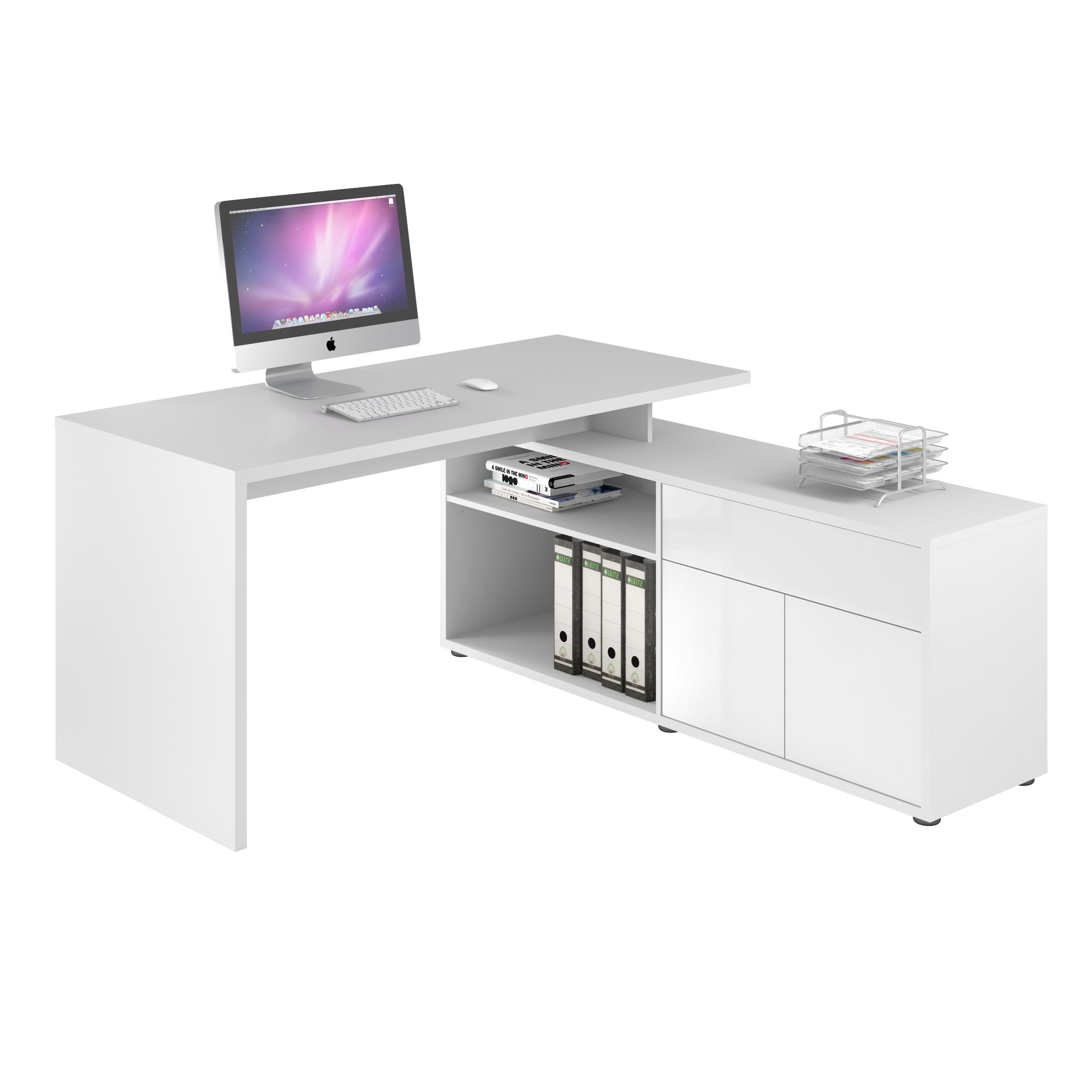 Image of: Naples Corner Computer Desk Icy White L Shaped Office Desks